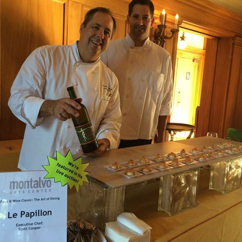 Le Papillon Executive Chef Scott Cooper with restaurant owner Cameron Mashayekh at Montalvo Arts Center