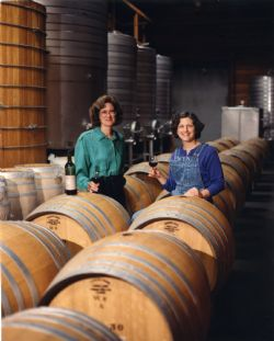 Merry with client Julia Iantosca, winemaker at Lambert Bridge, 1994