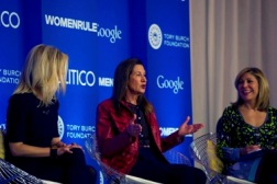 "Merry attends the Politico Women Rule Summit in Washington, D.C., participating in a panel discussion called ""Creating Your Own Corporate Ladder."" With her are moderator Leslie James Seymour, right, and Marla Malcolm Beck. Dec. 9, 2014"