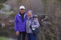 Merry with Patti Longenbach at Triple Creek Ranch in Montana, May 2014