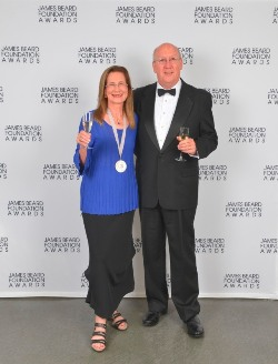 Merry with Ken after receiving her James Beard Award for Outstanding Wine or Spirits Professional, May 6, 2013