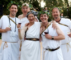 Decked out in togas, Merry and Ken attend the Pinot Forum's Bacchanalia with Phillip Cooper (far left), assistant manager and sommelier for Ray's Restaurant in Alpharetta, Ga.; Tony Ardisson (second from right), director of wine and good spirits for The Ranch at Rock Creek in Philipsburg, Mo.; and Christopher Chan (far right), director of wine and spirits for The Rainier Club in Seattle, Wash.