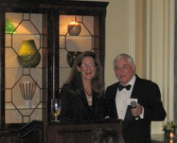 Dr. R. Geist introduces speaker Merry Edwards at the Society of Medical Friends of Wine's 71st annual dinner.