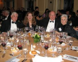 Outgoing president of the Society of Medical Friends of Wine, Dr. Richard Geist (far left) dines with Merry Edwards and her husband, Ken Coopersmith, and Mrs. Geist (far right).