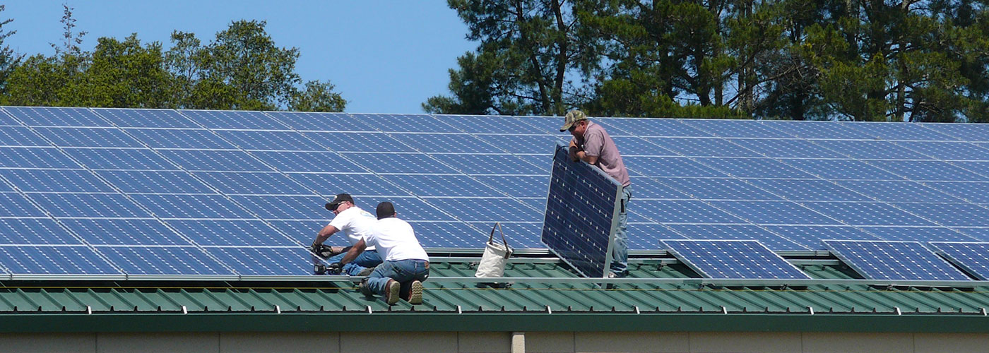 Installing solar panels at Merry Edwards Winery