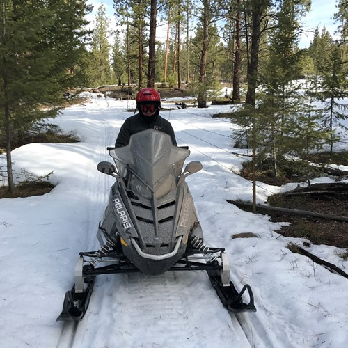 Ken snowmobiling at Paw's Up in Montana, March 2017