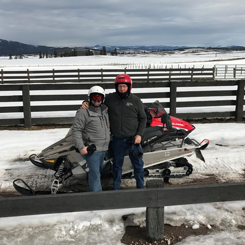 Ken before snowmobiling at Paw's Up in Montana, March 2017