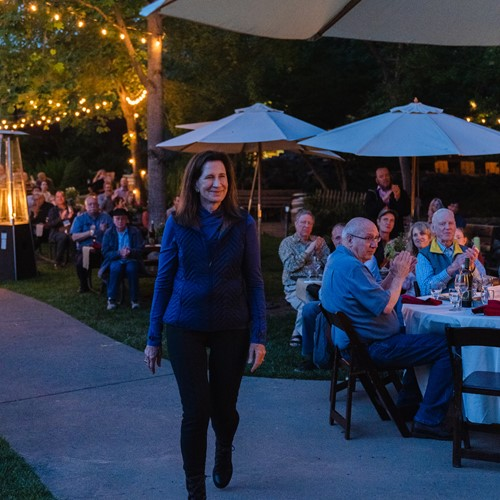 CalExpo gives Merry a Lifetime Achievement Award for her work in wine, May 2019 at Boeger Winery in Placerville, CA